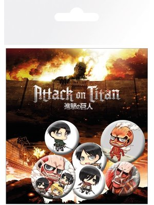 Attack on Titan Chibi 5 Badge Pack Buttons