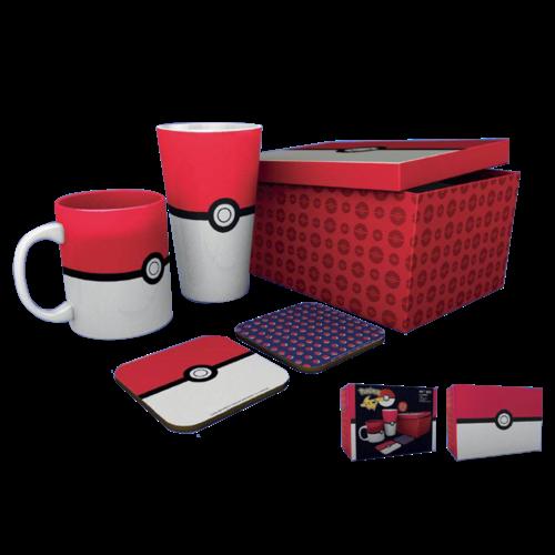 Pokemon Gift Box Pokeball Mug / Glass / 2 Coasters