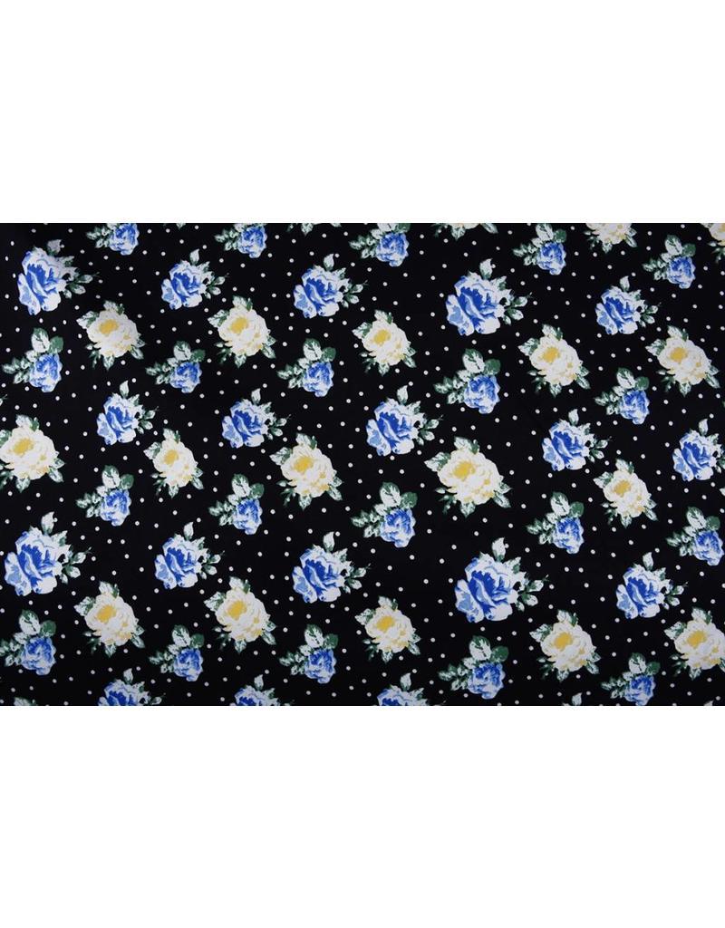 Baumwoll-Stretch Blumenmotiv Punkte