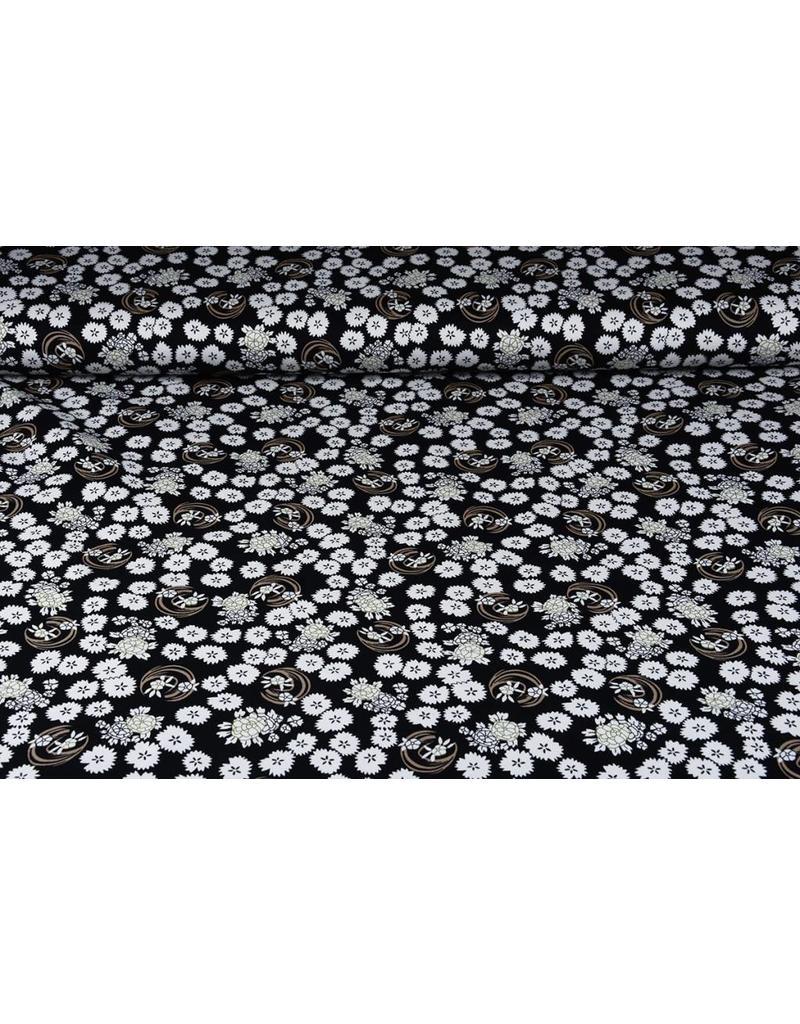 Baumwoll-Stretch Abstrakte Blumen
