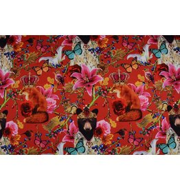 Digitaal bedrukt Royalty Bears Cotton Jersey Rood