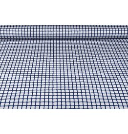 Stretch Cotton Grid Police Blue