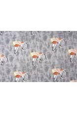 Digitale Print Bloemen fiets Cotton Jersey