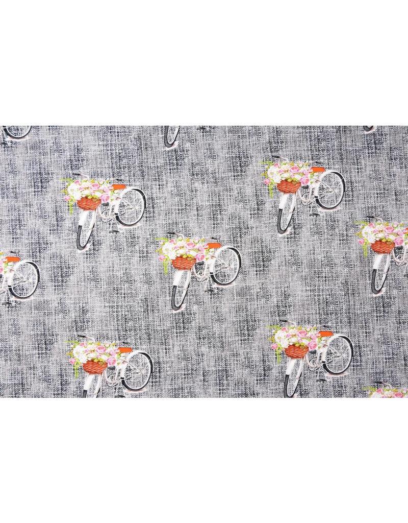 Digitaldruck Blumenfahrrad Baumwolljersey