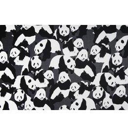 Sweatstoff Alpenfleece Pandas Grau
