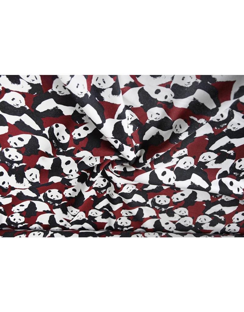 Sweatstoff Alpenfleece Pandas Bordeaux