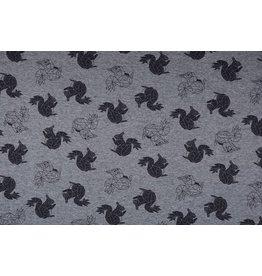Sweatstoff Alpenfleece Eichhörnchen Origami Grau Melange