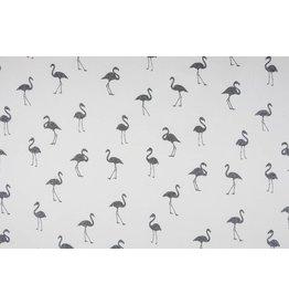 Sweatstoff Alpenfleece Flamingo Glitzer Ecru