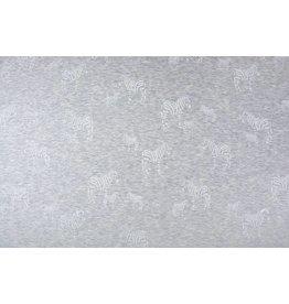 Sweatstoff Alpenfleece Zebra Glitzer Silber