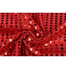 Sequins on Lurex Red