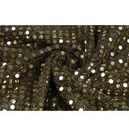 Sequins on Mesh Black-gold