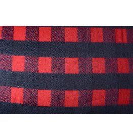 Woolen fabric Tartan Red Dark Navy