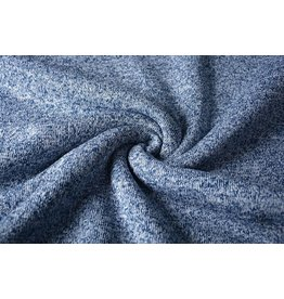 Sweatstoff Gestrickt, Bunt Melange Weiß Blau