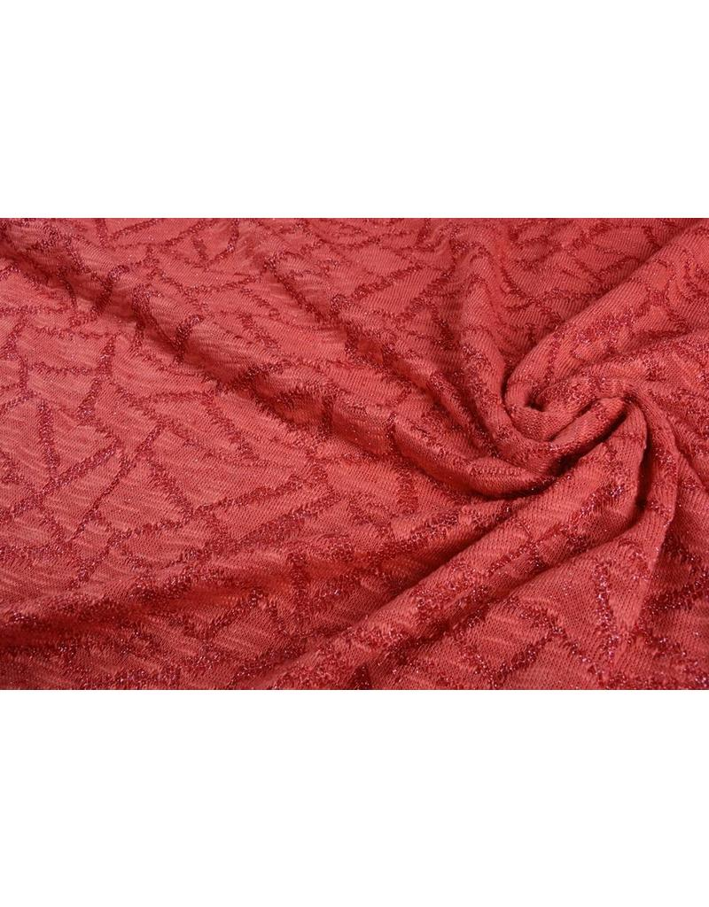 Jacquard Abstrakte Linien mit Glitzer Rot
