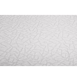Jacquard Abstract lines with glitter Silk White