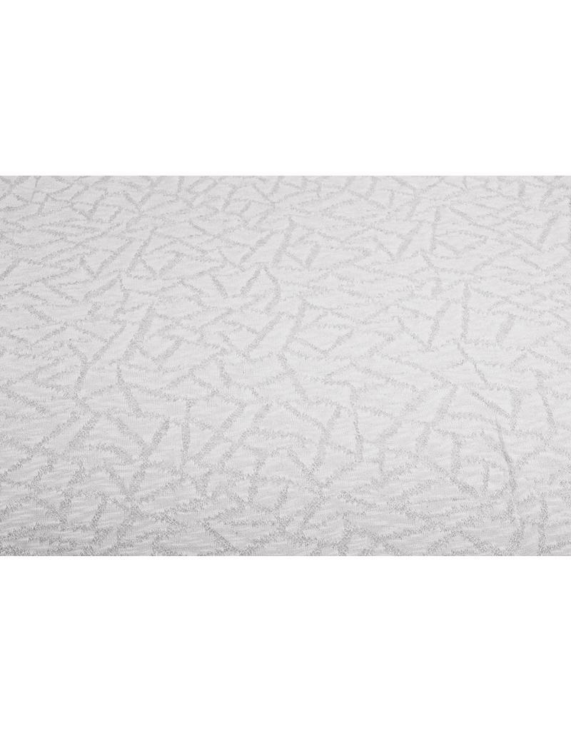 Jacquard Abstracte lijnen met glitter Silk Wit