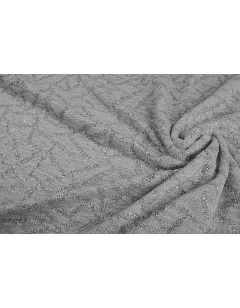 Jacquard Abstrakte Linien mit Glitzer Silber