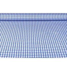 Stretch Cotton Grid Kobalt Blue
