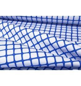 Stretch Katoen Raster Kobaltblauw