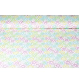 Stretch Cotton Star in Circle Pink Multi