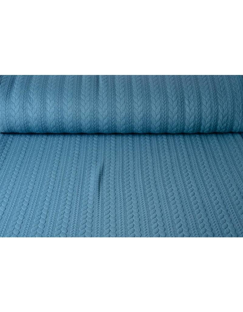 Knitted Cable fabric tricot Petrol Blue