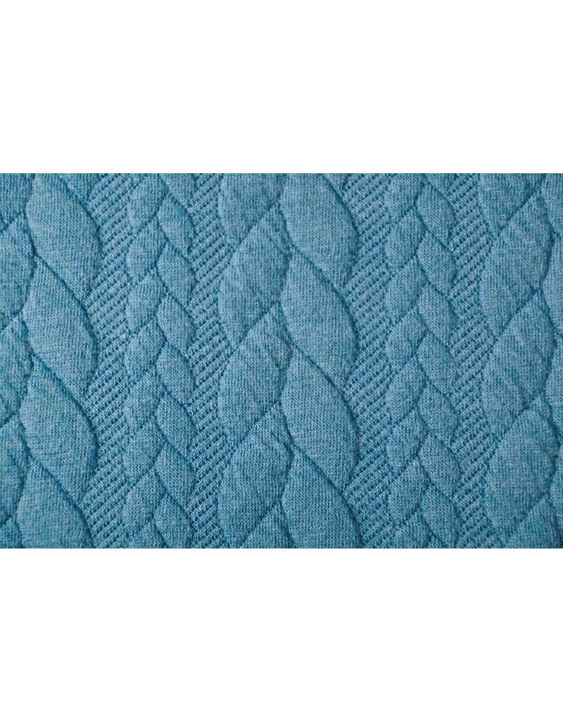 Gebreide kabel stof tricot Petrol Blauw