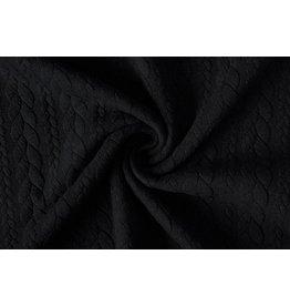 Strickstoff Zopfmuster Jersey Schwarz