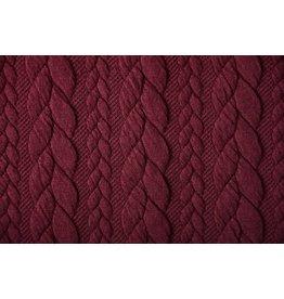 Strickstoff Zopfmuster Jersey Bordeaux