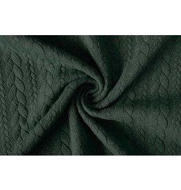 Gebreide kabel stof tricot Army Groen