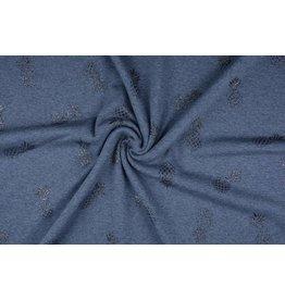 Sweatstoff Alpenfleece Ananas Glitzer Jeans