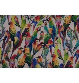 Sweatstoff Digitaldruck Vögel Beige