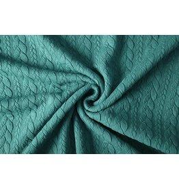 Strickstoff Zopfmuster Jersey Seegrün