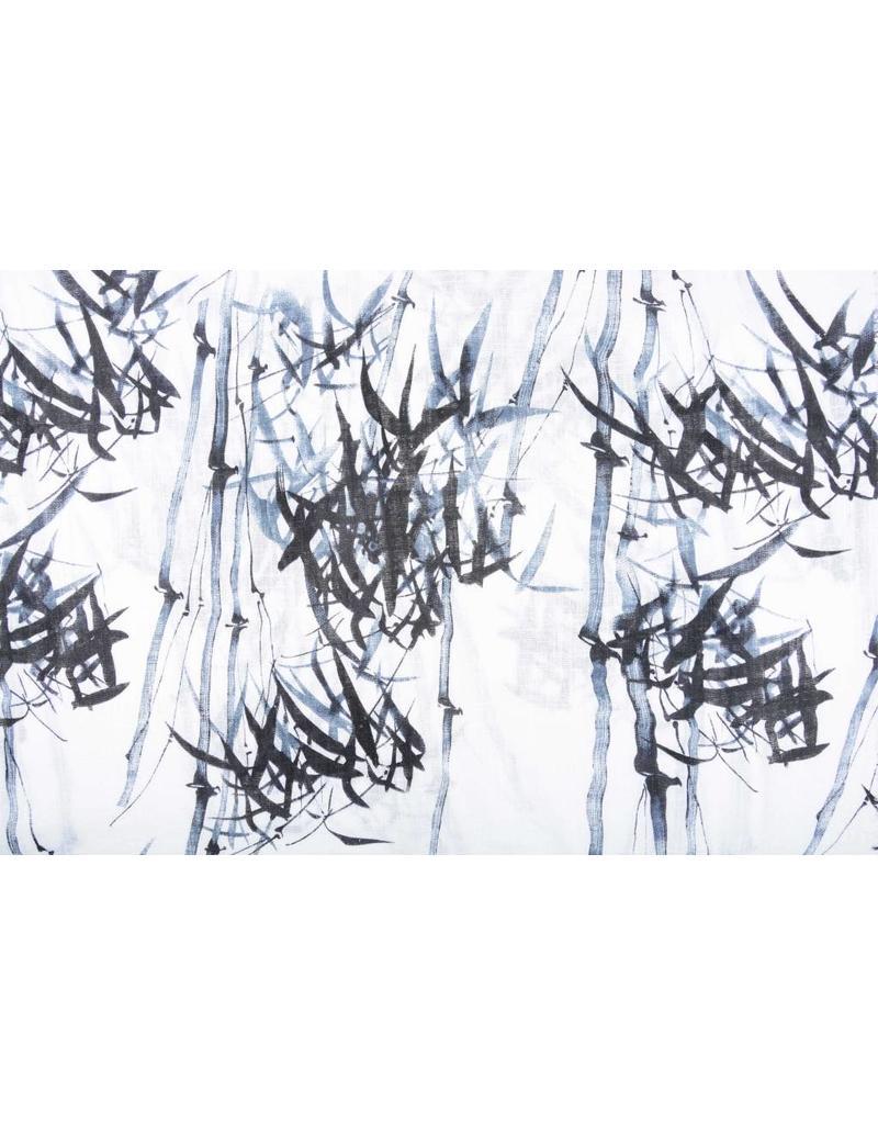 Bedruckte Baumwolle Leinenoptik Bambuspflanze