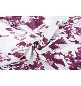 Printed Cotton Linen  Off White Dark Old Pink