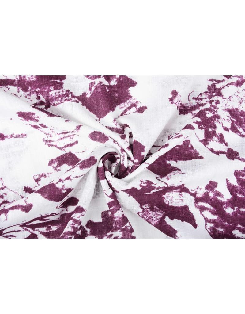 Bedruckte Baumwolle Leinenoptik Gebrochen Weiß Dunkel-Altrosa