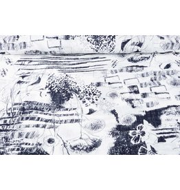 Bedruckte Baumwolle Leinenoptik Sketch Marineblau
