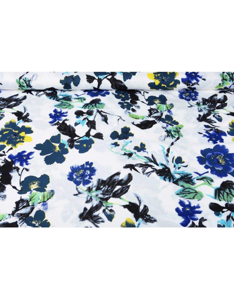 Linnenlook Bedrukt Blauwe Bloemen