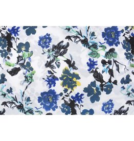 Leinenoptik Bedruckt Blaue Blumen