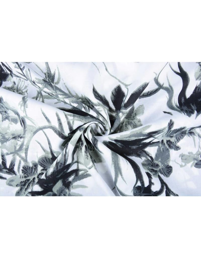 Linnenlook Bedrukt Grijze Tropische Bloemen