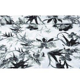 Linenlook Printed Grey Tropical Flowers