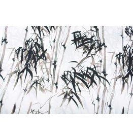Leinenoptik Bedruckt Bambus Taupe