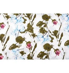 Leinenoptik Bedruckt Blumen Hellblau