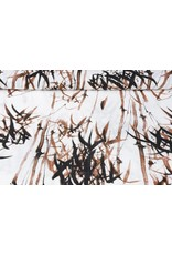 Bedrukt Katoen Linnenlook Bamboo plant Bruin
