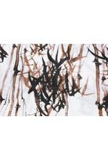 Bedruckte Baumwolle Leinenoptik Bambuspflanze Braun