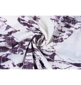 Printed Cotton Linenlook Off White Dark Aubergine