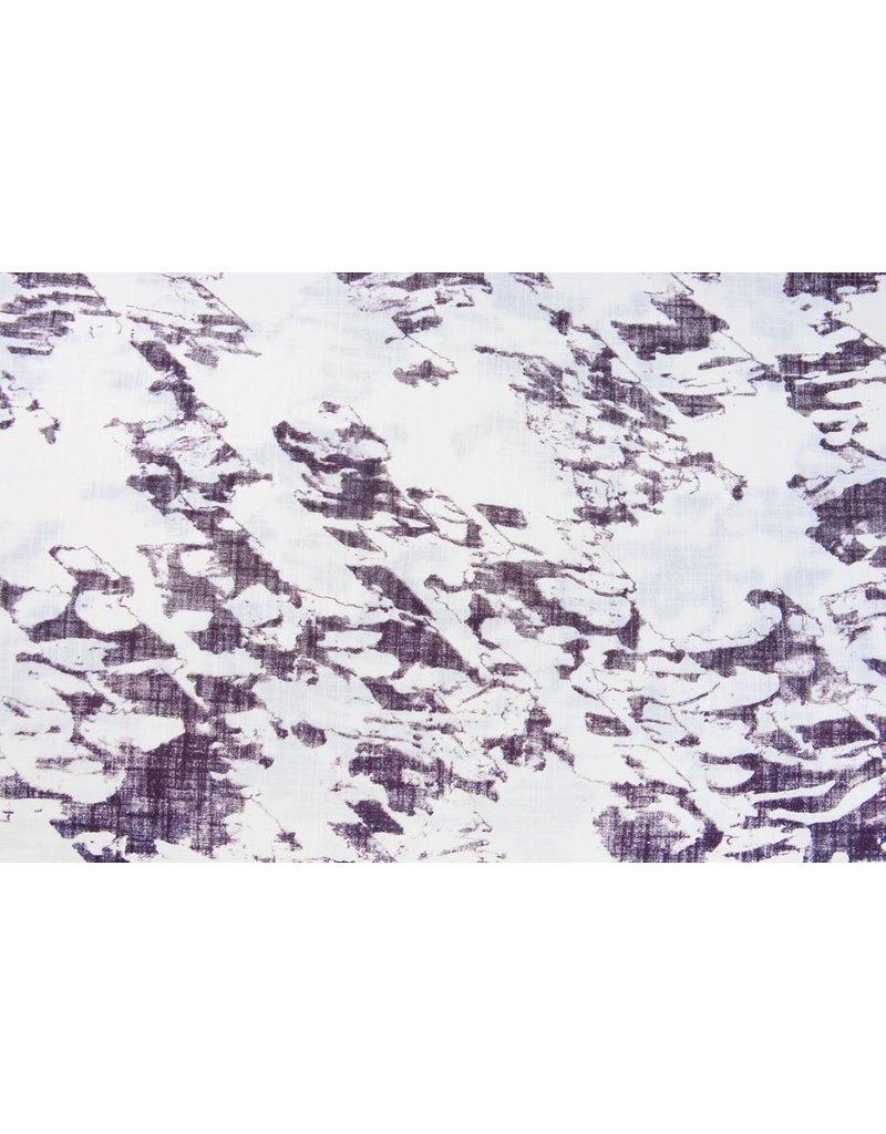 Bedruckte Baumwolle Leinenoptik Gebrochen Weiß Dunkel-Aubergine