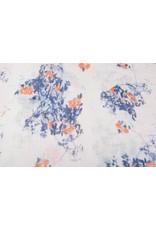 Bedruckte Baumwolle Leinenoptik Rosen Blau-Orange