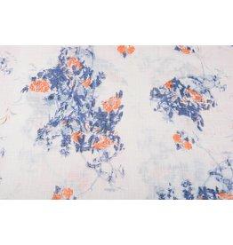 Printed Cotton Linenlook Roses Blue Orange