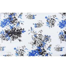 Linnenlook Viscose Bedrukt Bloemenplant Blauw