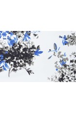 Leinenoptik Viskose Bedruckt Blumenpflanze Blau